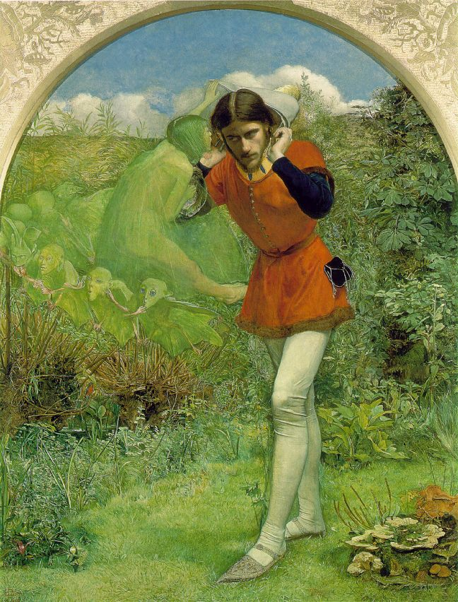 Ferdinand Lured by Ariel by John Everett Millais, Frederic George Stephens was the model