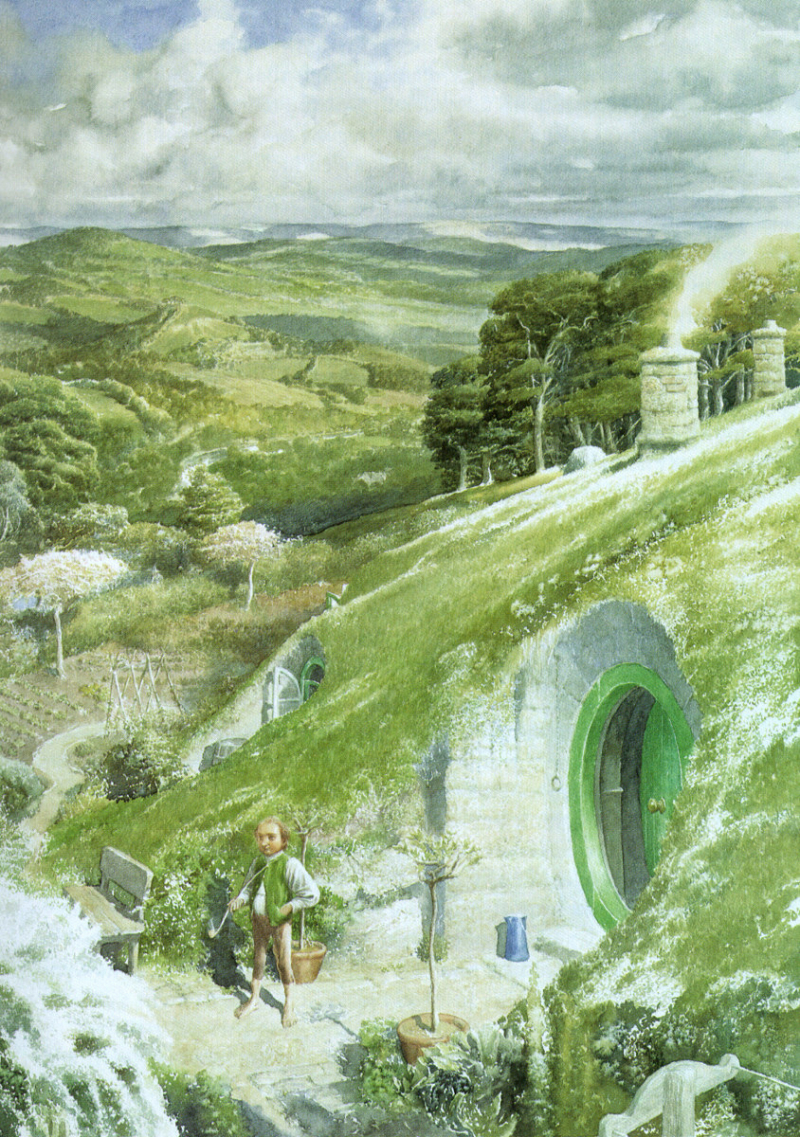 Bilbo Outside Bag End by Alan Lee