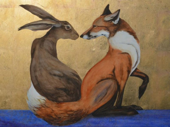 Hare, Fox, and the space between by Jackie Morris.jpg