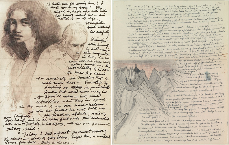 Manuscripts for Titus Groan by Mervyn Peake & The Two Towers by JRR Tolkien