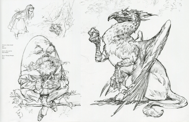 Alice in Wonderland sketches by Iain McCaig