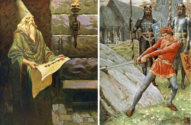 Merlin by Frank Godwin & The Sword in the Stone by Walter Crane