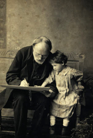 Edward Burne-Jones, painter,  and his grand-daughter Angela