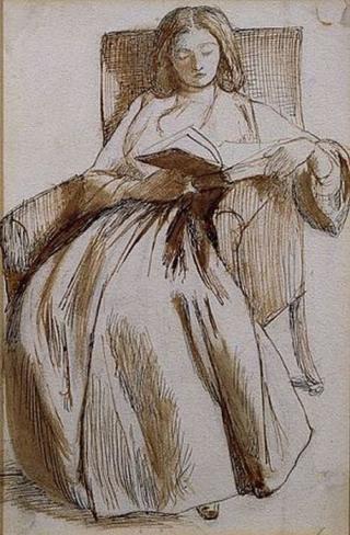 Elisabeth Siddal Reading by Dante Gabriel Rossetti