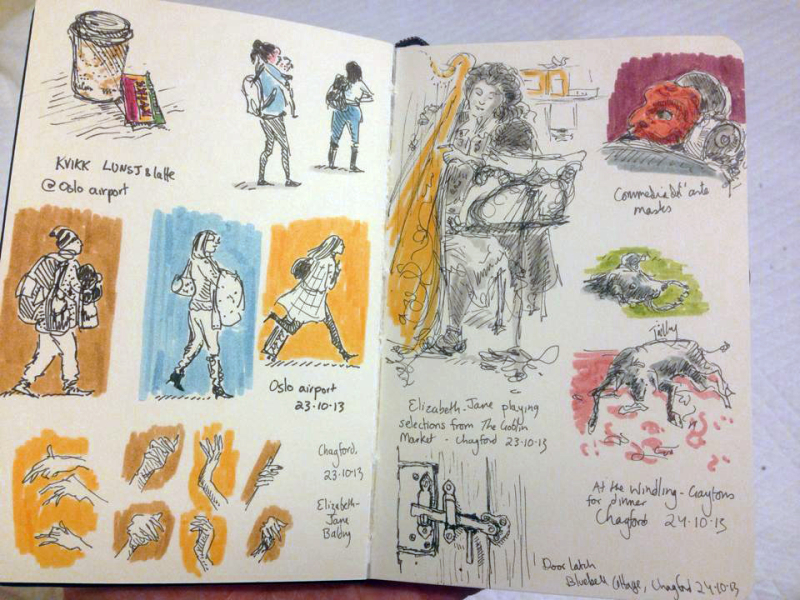 Pages from a travel sketchbook by Kathleen Jennings
