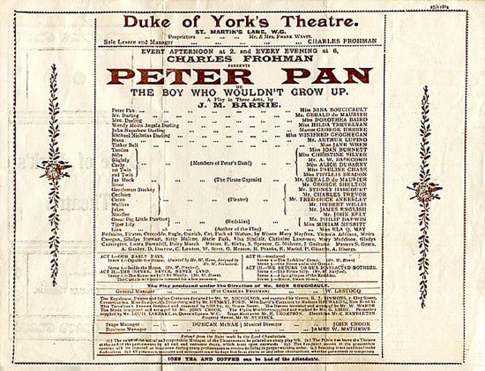 The announcement of the first performance of Peter Pan