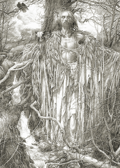 Merlin during his time of solitude in the woods  by Alan Lee