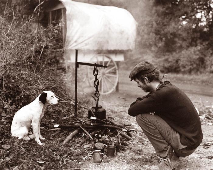 Traveller and Dog by Matt Bigwood
