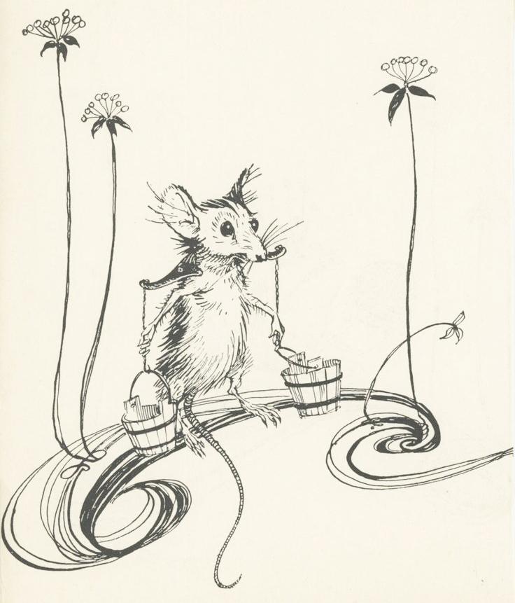 Mouse drawing by Arhur Rackham