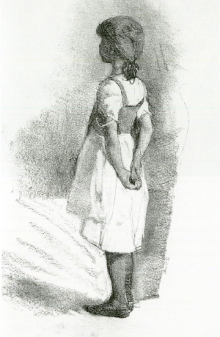 A Girl With Hands Behind Her Back (charcoal drawing) by Elizabeth Forbes