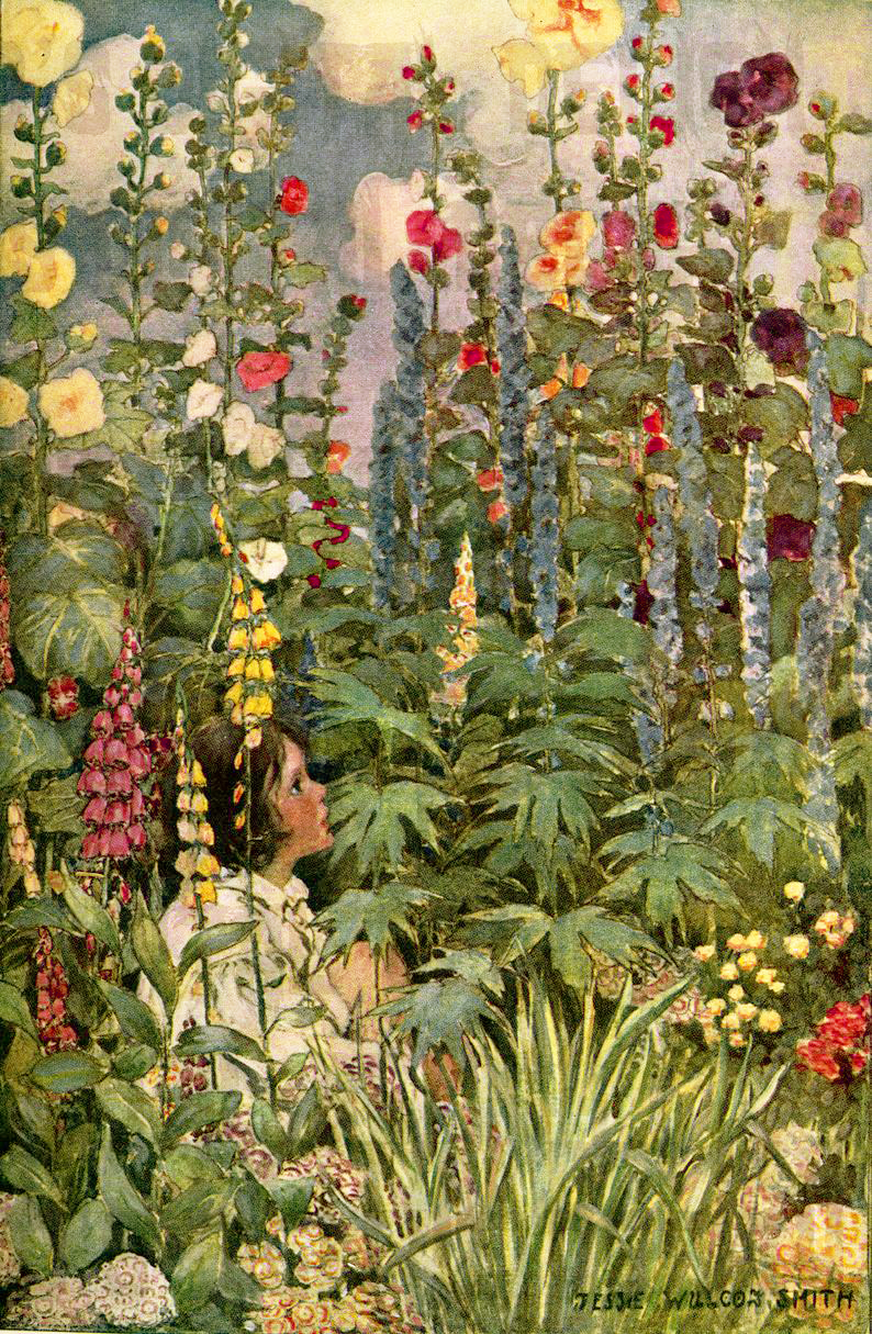 Foxgloves among the flowers in a cottage garden by Jessie Willcox Smith
