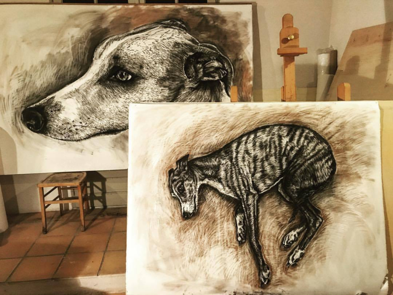 Dog drawings by Sophie Ryder