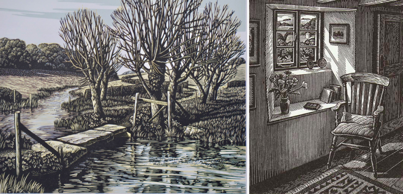 The River Ebble at Fifield Bavant and Sunlit Interior by Howard Phipps