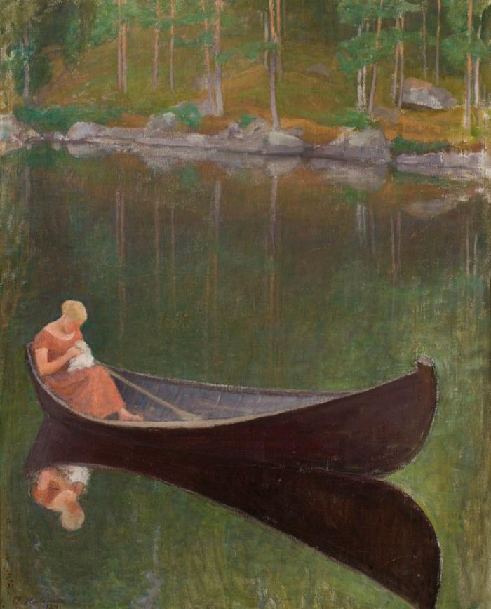 Woman in a Boat by Pekka Halonen