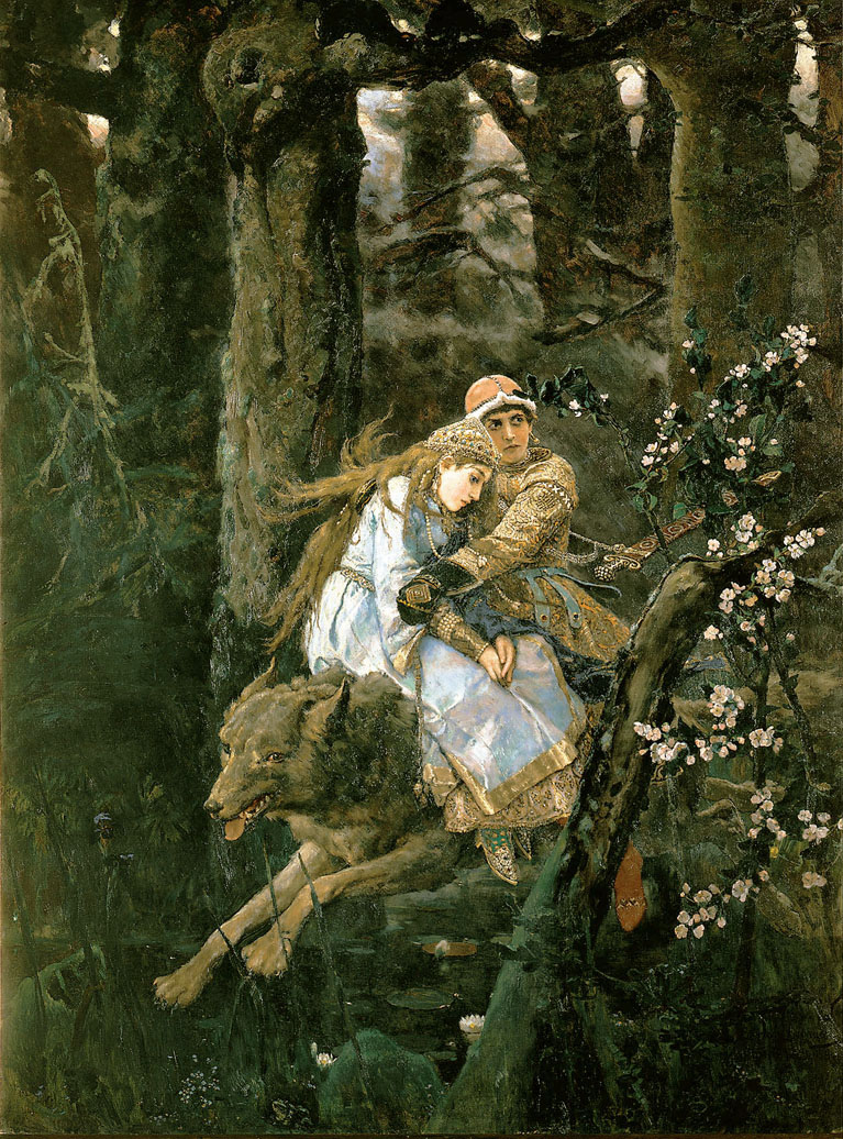 Ivan Tsarevich Riding the Grey Wolf by Vikto Vasnetsov