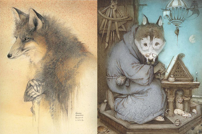 The Dreamcatcher by Susan Seddon Boulet and Wolf by Kirill Chelushkin
