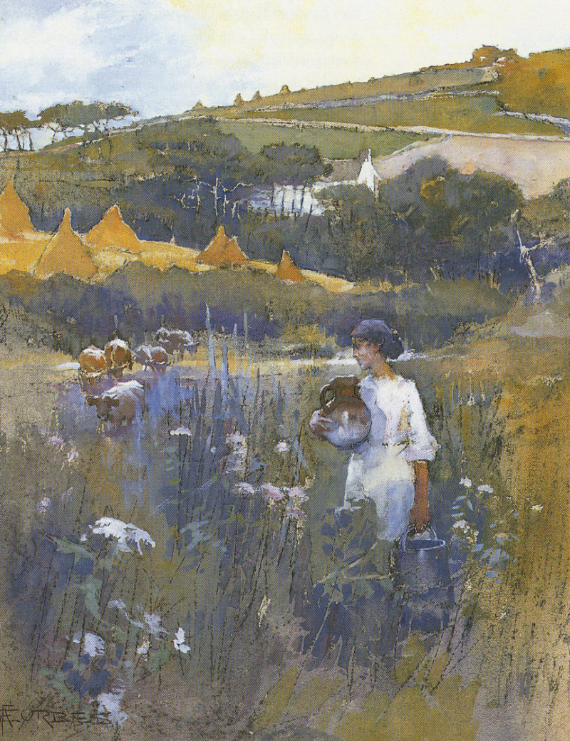Landscape near Paul  Cornwall by Elizabeth Forbes