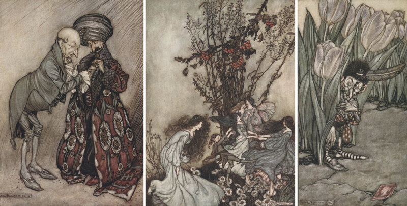 Three fairy paintings by Arthur Rackham