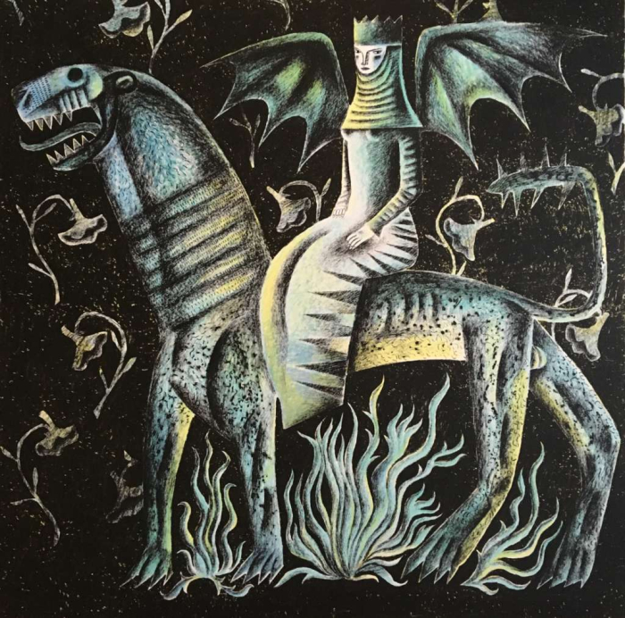 An illlustration from Gawain and the Green Knight by Clive Hicks-Jenkins