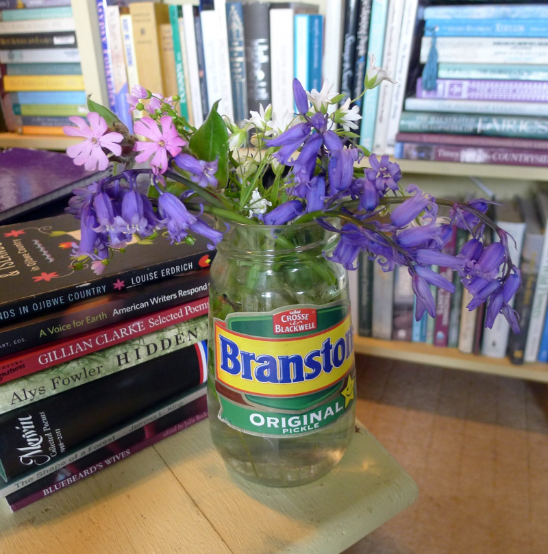 Bluebells in a pickle jar