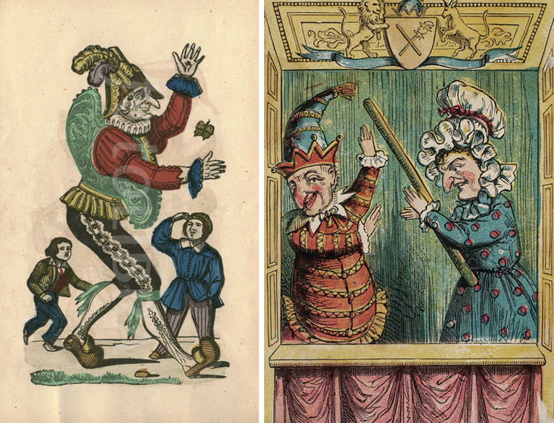 Punch & Judy woodcut prints  circa 1850