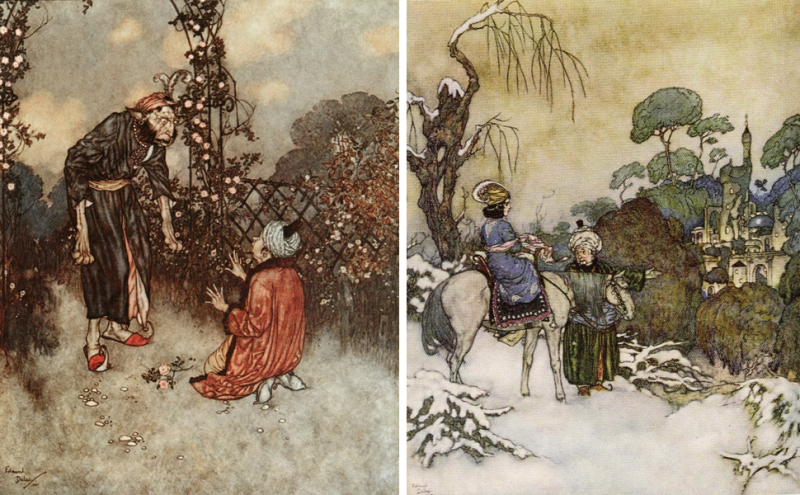 Beauty's father steals a rose  then delivers his daughter to the beast  by Edmund Dulac