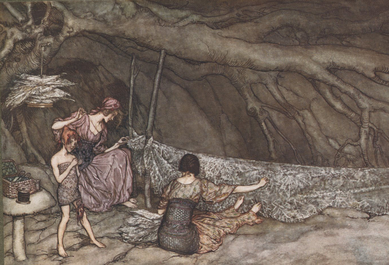 Fairies at work by Arthur Rackham