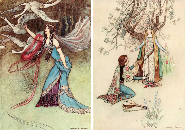 The Wild Swans and Riquet of the Tuft by Warwick Goble
