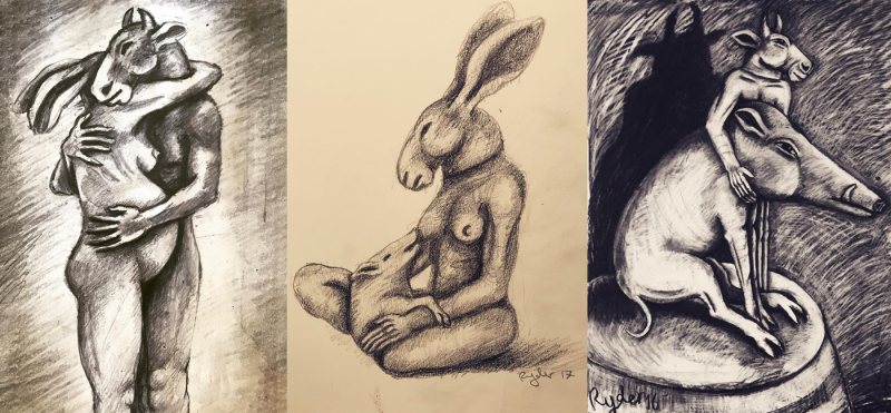 Three drawings by Sophie Ryder