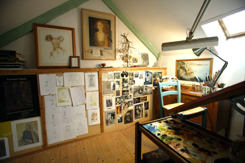 Under-the-eaves painting studio at Weaver's Cottage