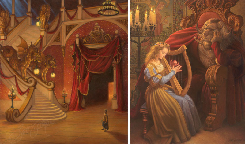 Beauty's father and Beauty in the Beast's castle by Scott Gustafson