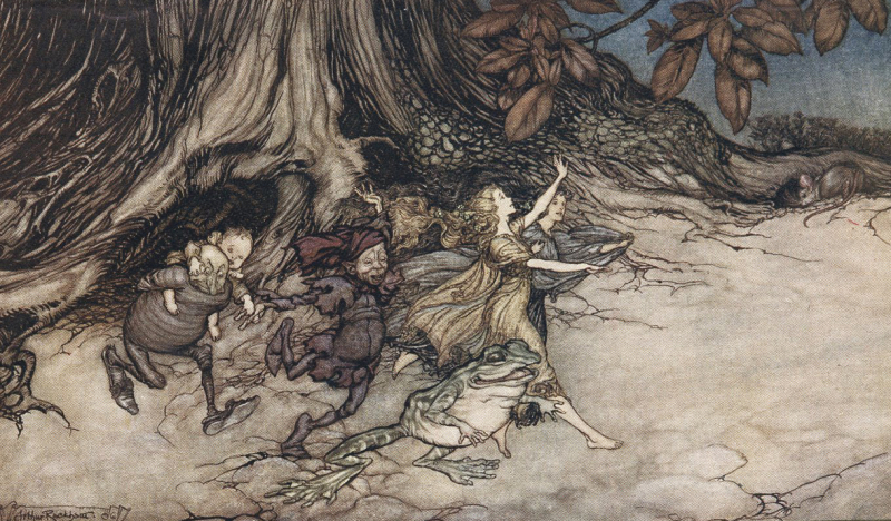 Fairies on a romp by Arthur Rackham