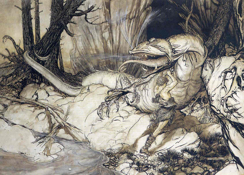 Fafnir and Sigurd by Arthur Rackham