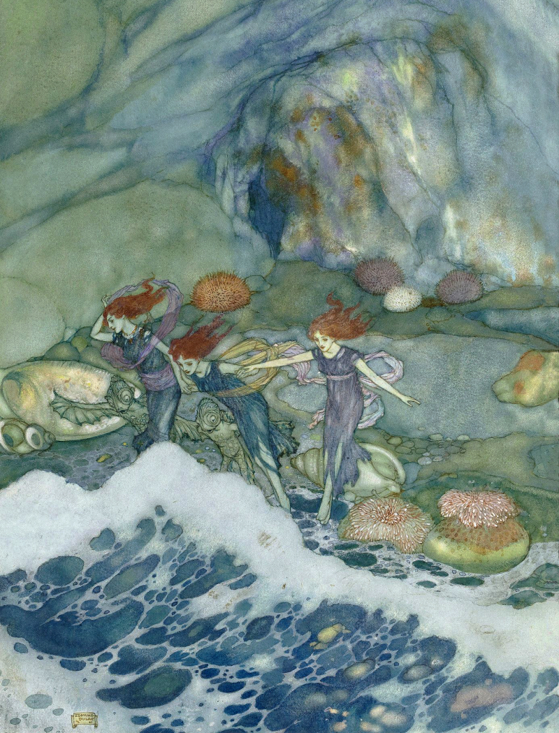 An illustration for The Tempest by Edmund Dulac