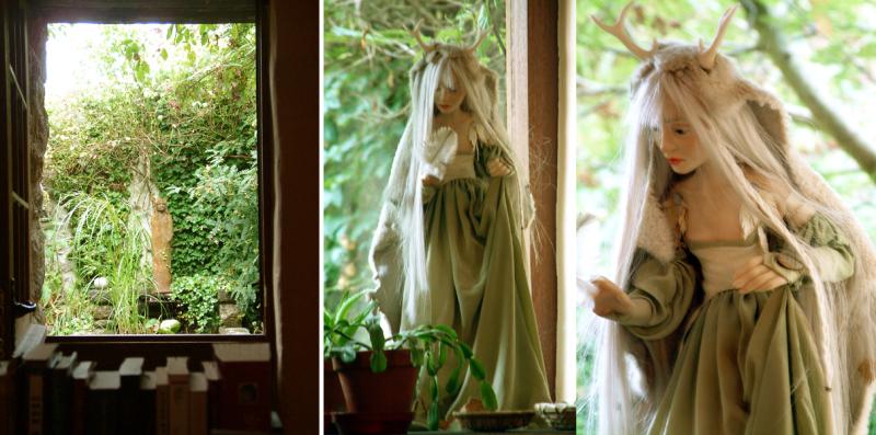 Two deer women sculptures by Wendy Froud