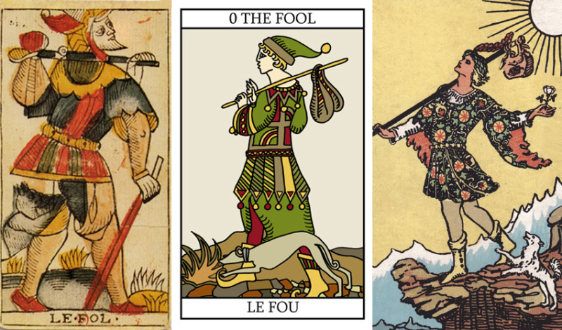 The fool cards from the Dodal Tarot, Karyn Easton Tarot, and Rider-Waite Tarot.