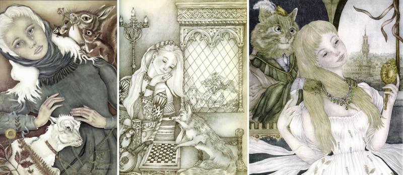 Three illustrations by Adrienne Segur