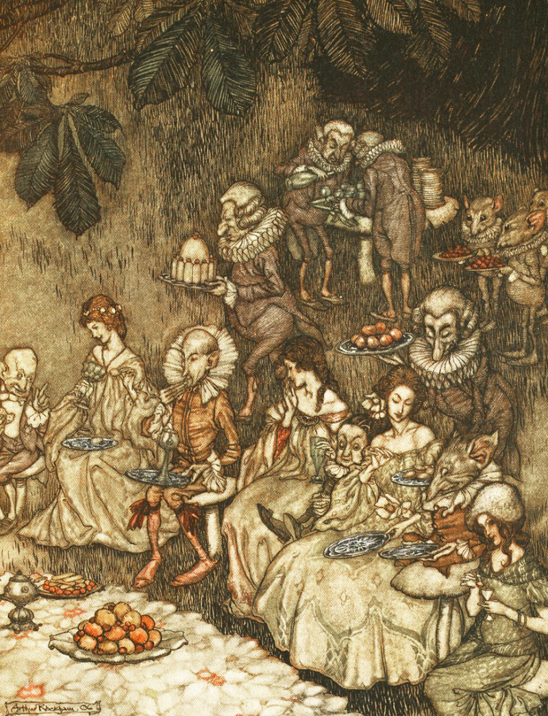 Fairies feasting by Arthur Rackham