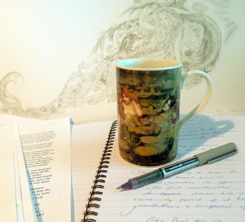 Desktop  with Waterhouse coffee mug and Marja Lee drawing