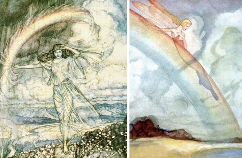 Rainbow Nymph by Arthur Rackham and Rainbow Fairy by Willy Pogany