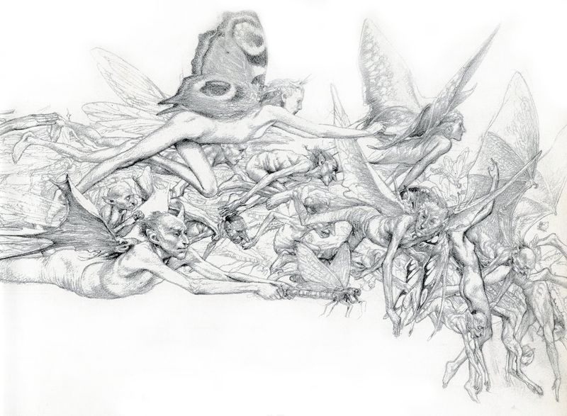 A swarm of fairies and piskies by Alan Lee