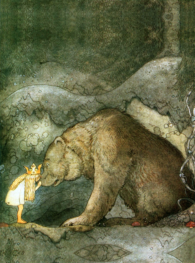 She Kissed the Bear on the Nose by John Bauer