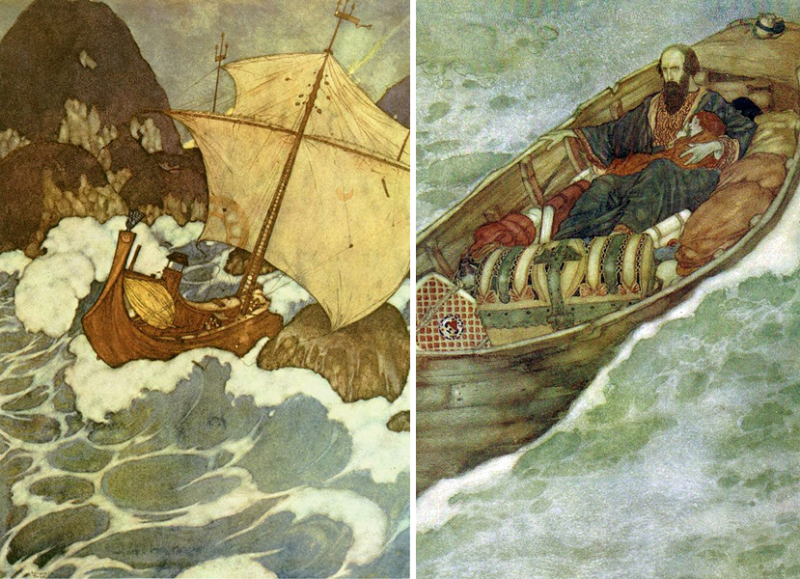Prospero sails to his island of exile  by Edmund Dulac