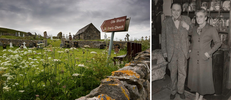 St Barr's Church on the Isle of Barra and Sir Compton Mazkenzie with his wife, Faith.