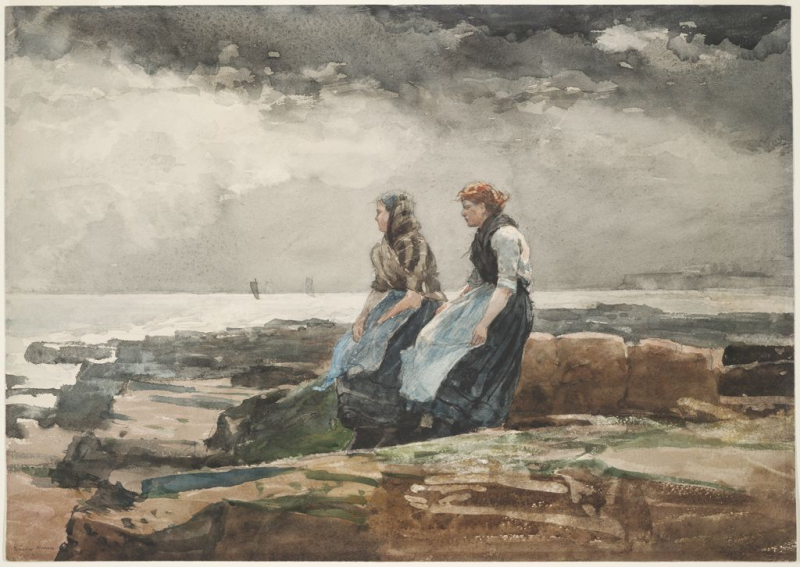 Looking Out to Sea by Winslow Homer