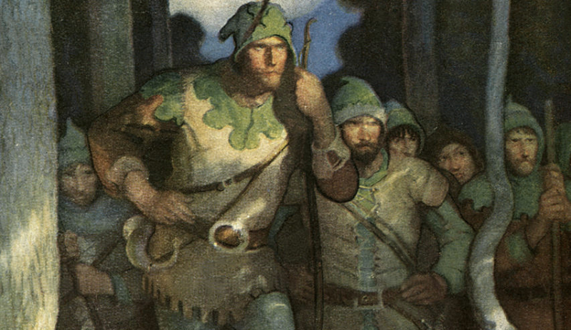 A detail from Robin Hood and his Merry Men by N.C. Wyeth