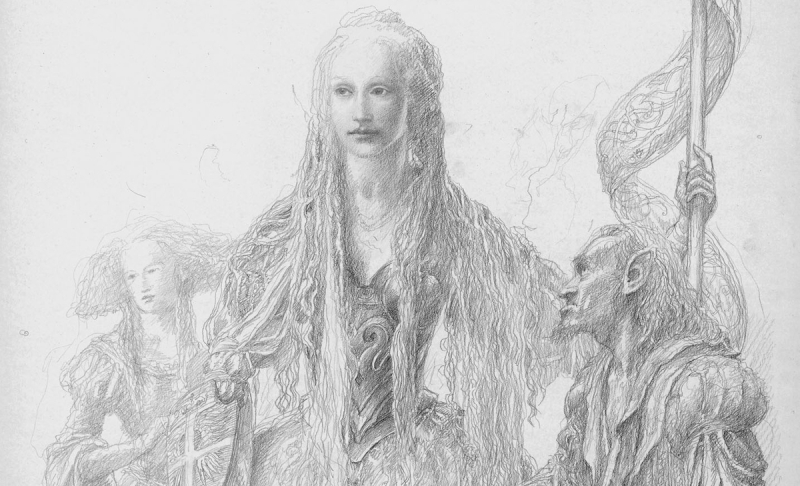Detail from a drawing by Alan Lee