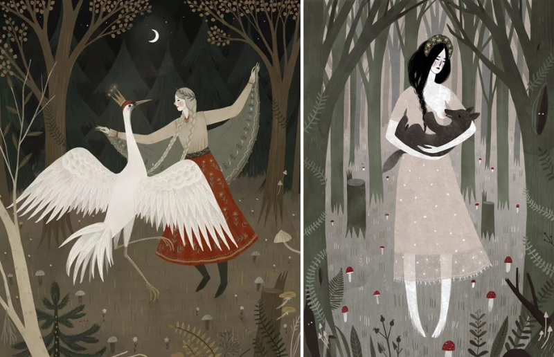 Crane Dance and Hey Mama Wolf by Alexandra Dvornikova