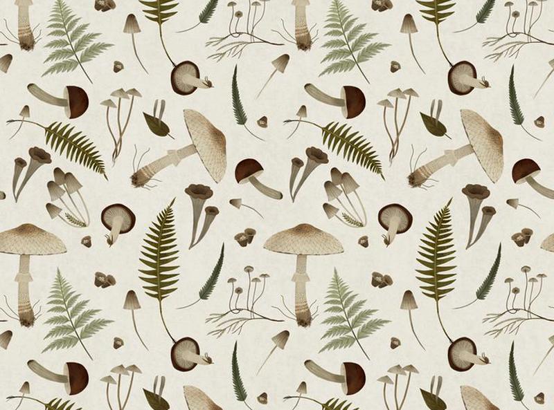 Mushroom pattern by Alexandra Dvornikova