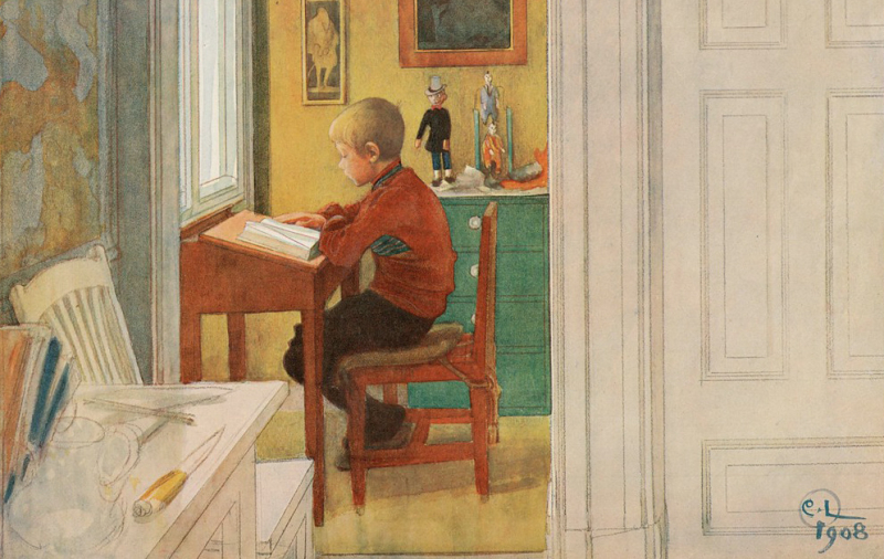 Boy Reading by Carl Larsson